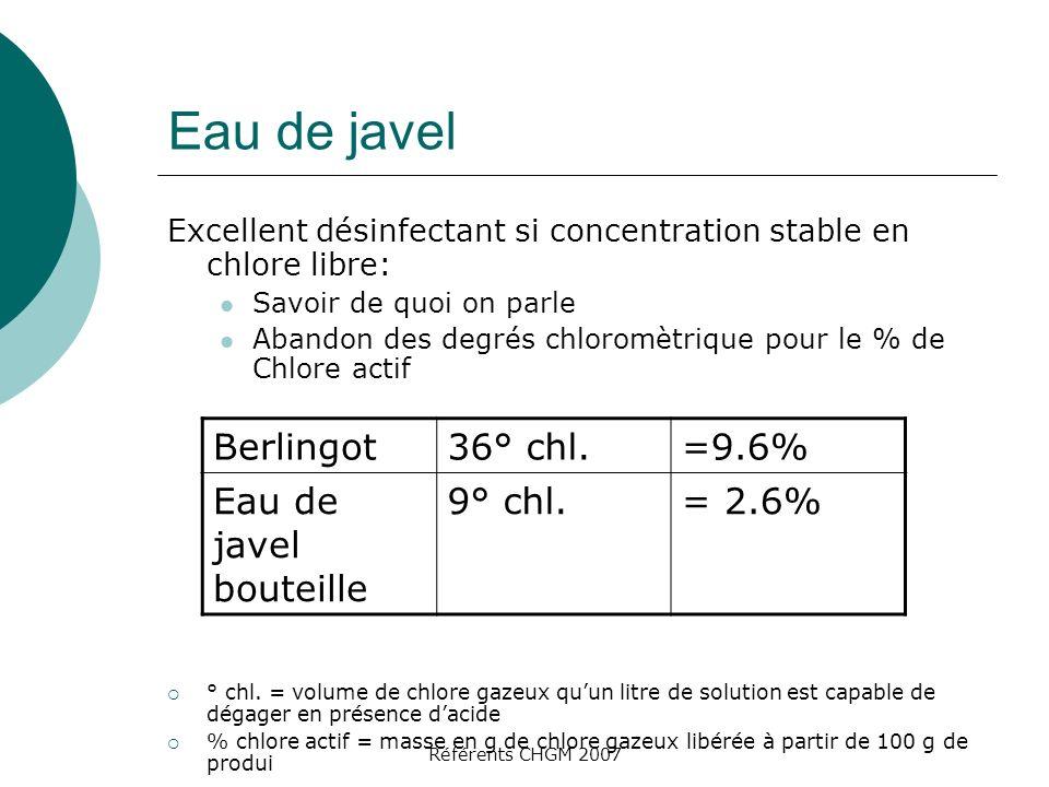Eau de javel Berlingot 36° chl. =9.6% Eau de javel bouteille 9° chl.