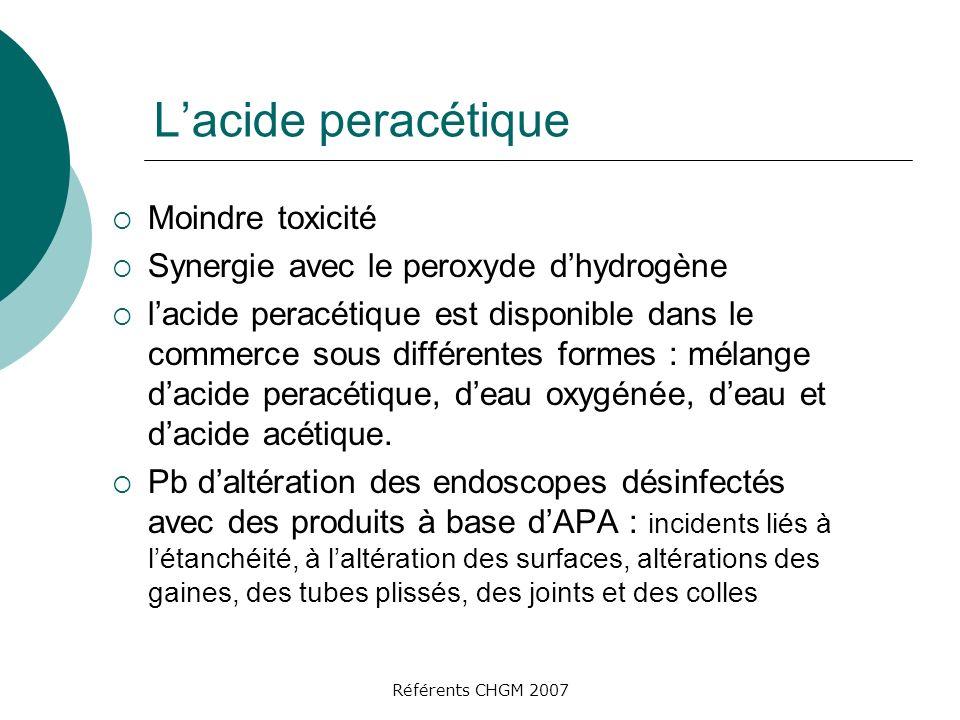 L'acide peracétique Moindre toxicité