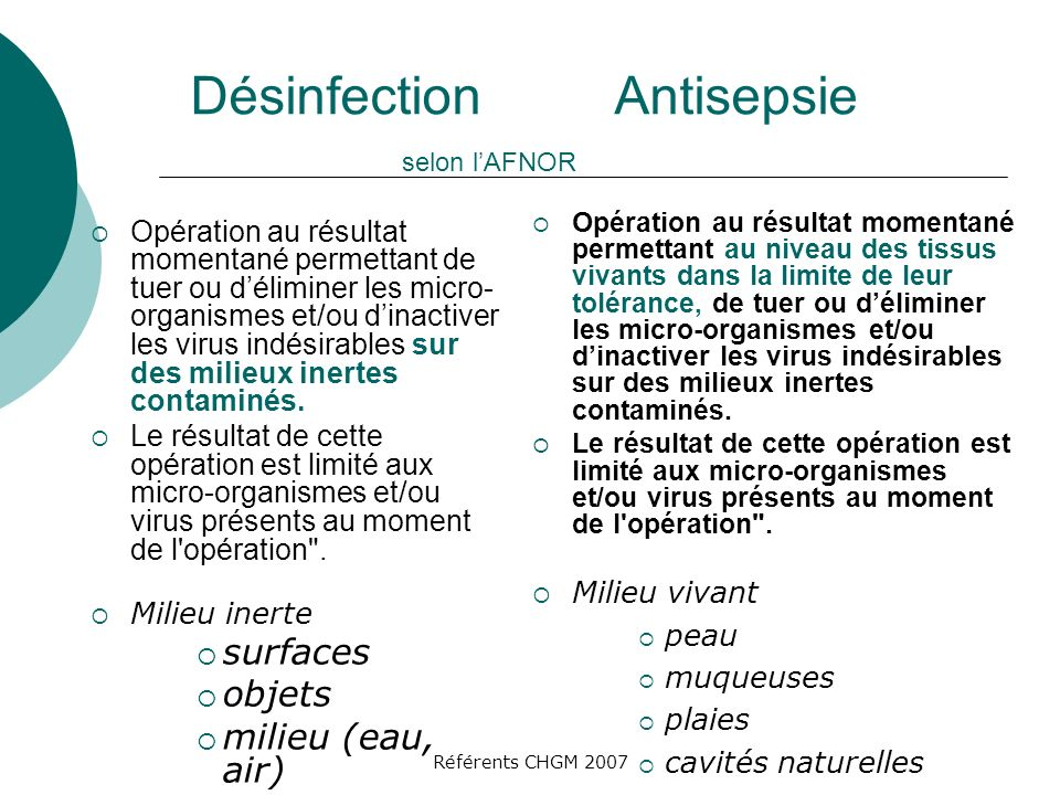 Désinfection Antisepsie selon l'AFNOR