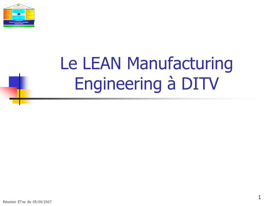 Le LEAN Manufacturing Engineering à DITV