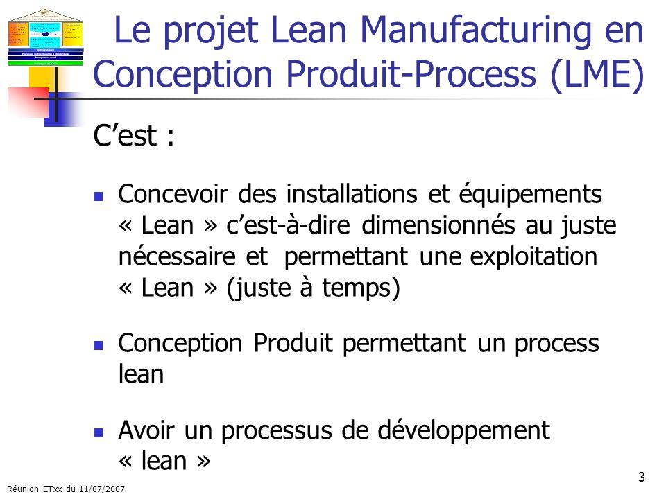 Le projet Lean Manufacturing en Conception Produit-Process (LME)