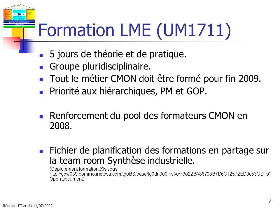 Formation LME (UM1711) 5 jours de théorie et de pratique.