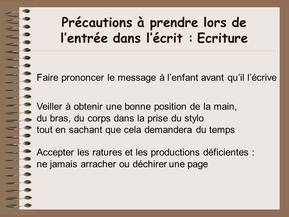 Précautions à prendre lors de l'entrée dans l'écrit : Ecriture