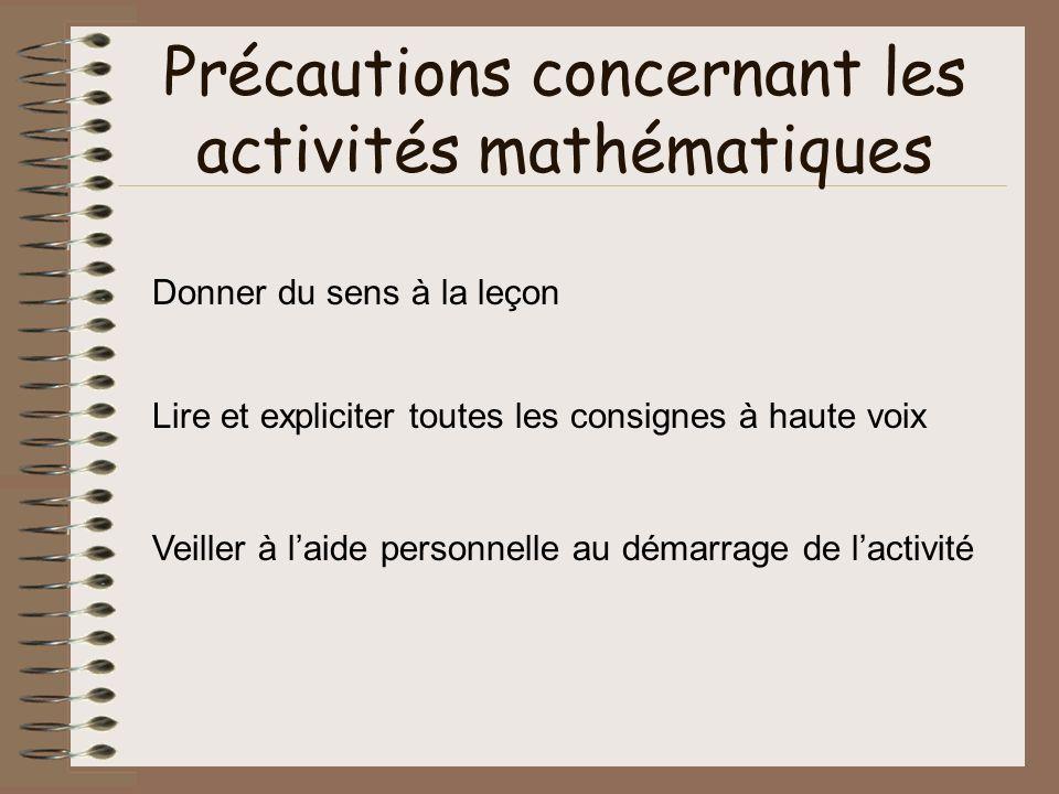 Précautions concernant les activités mathématiques