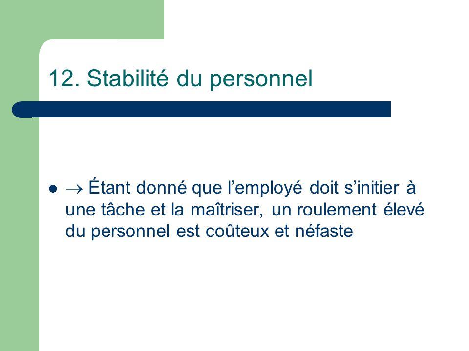 12. Stabilité du personnel
