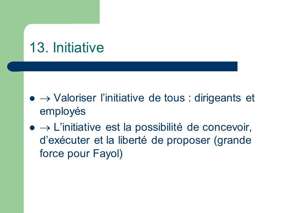13. Initiative  Valoriser l'initiative de tous : dirigeants et employés.