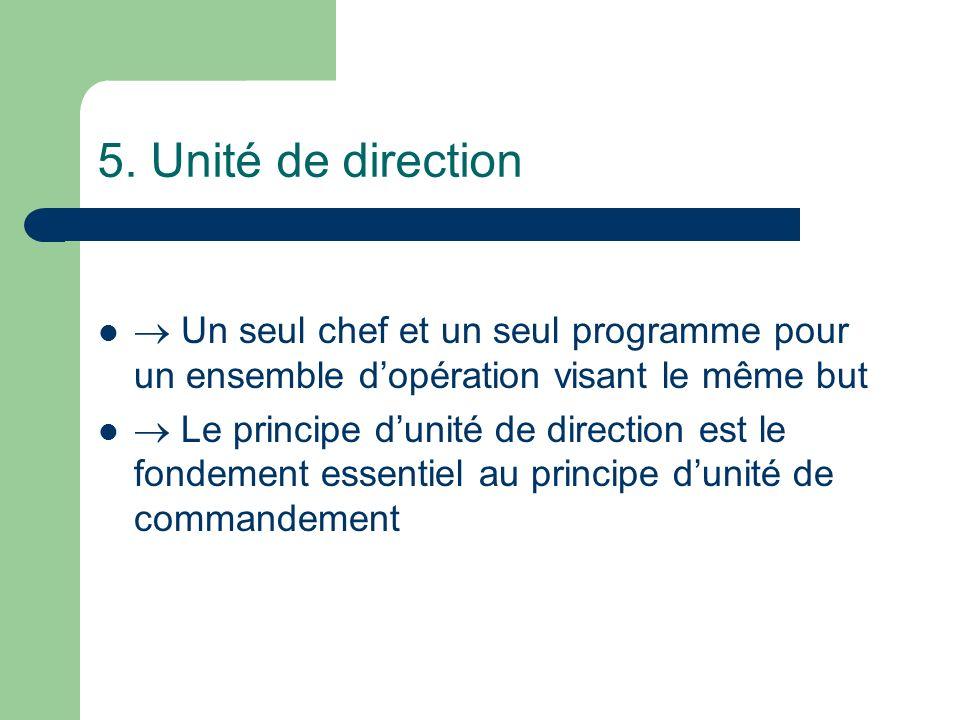 5. Unité de direction  Un seul chef et un seul programme pour un ensemble d'opération visant le même but.