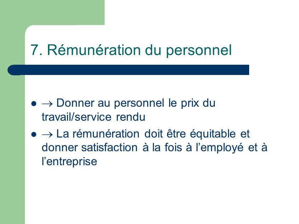 7. Rémunération du personnel
