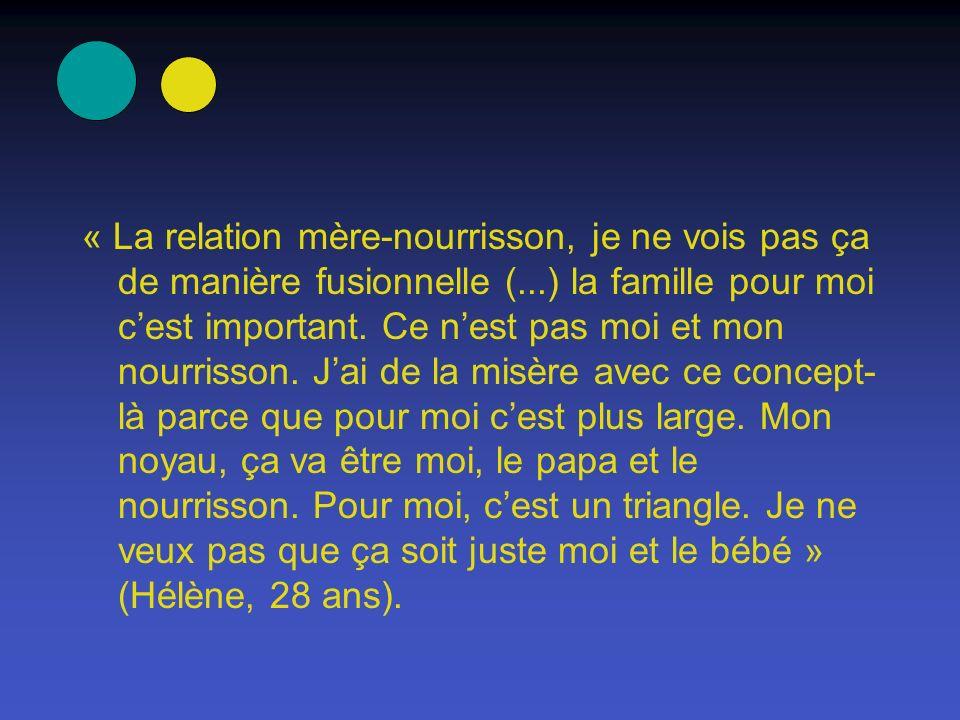 « La relation mère-nourrisson, je ne vois pas ça de manière fusionnelle (...) la famille pour moi c'est important.