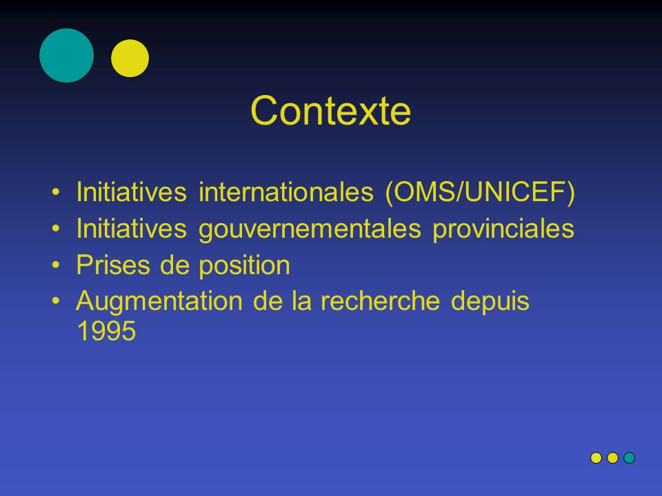Contexte Initiatives internationales (OMS/UNICEF)