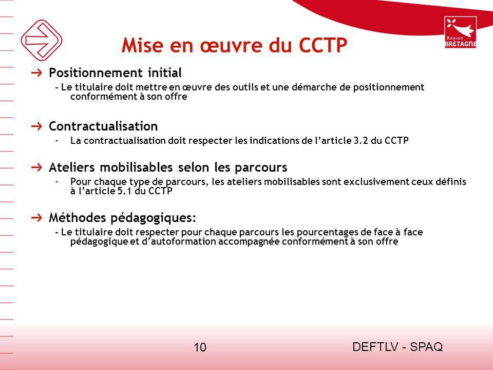 Mise en œuvre du CCTP Positionnement initial Contractualisation