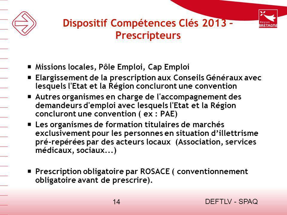 Dispositif Compétences Clés 2013 – Prescripteurs