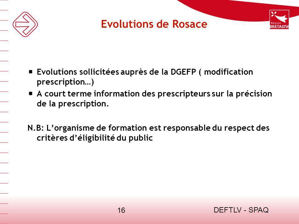 13/03/13 Evolutions de Rosace. Evolutions sollicitées auprès de la DGEFP ( modification prescription…)