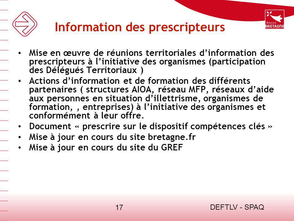 Information des prescripteurs
