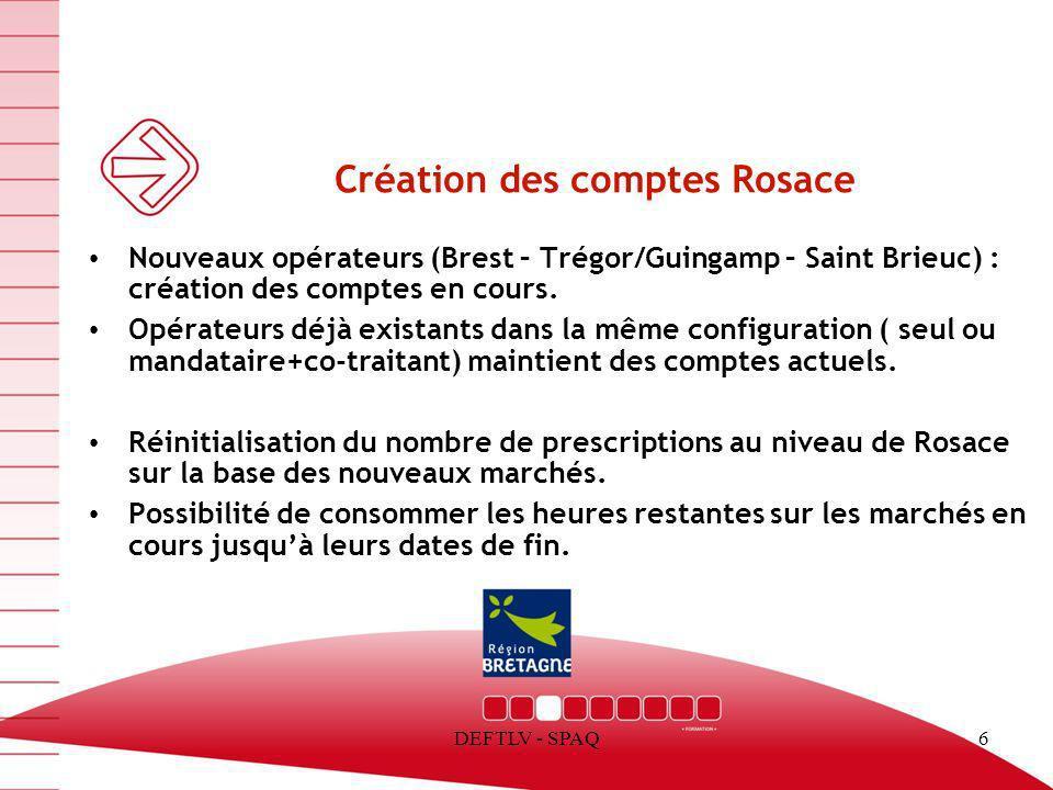 Création des comptes Rosace