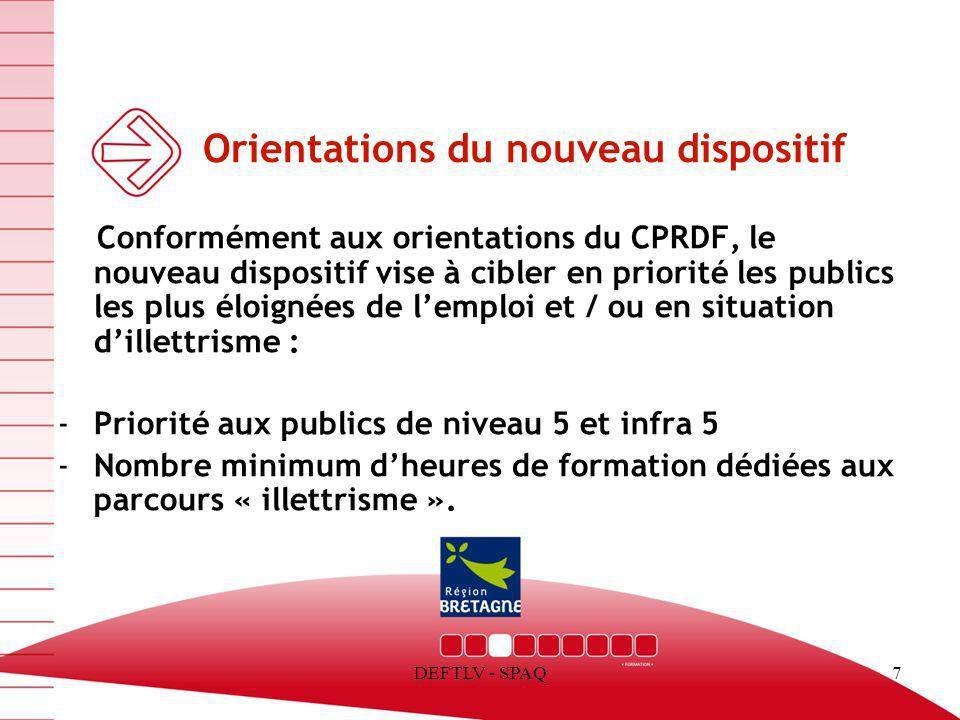 Orientations du nouveau dispositif