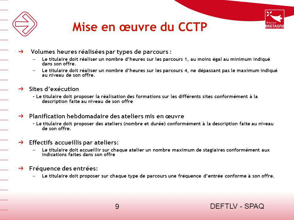 Mise en œuvre du CCTP DEFTLV - SPAQ