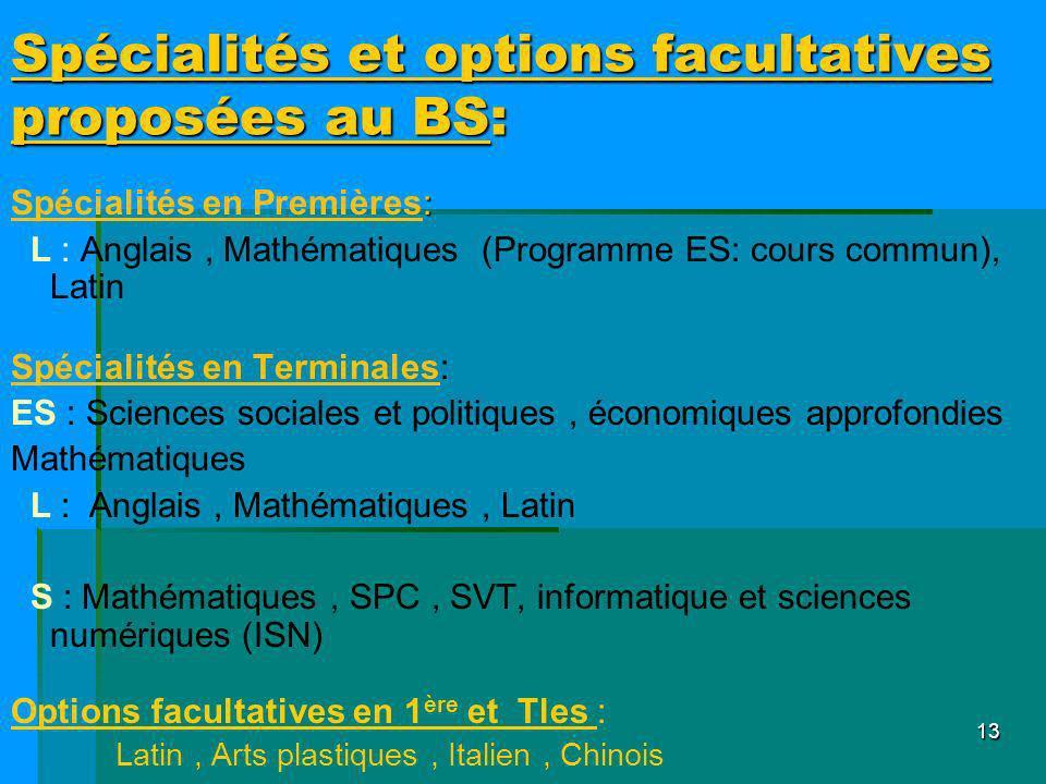 Spécialités et options facultatives proposées au BS: