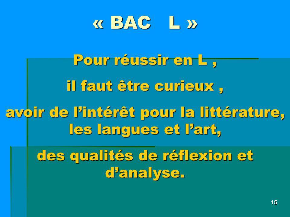 « BAC L » Pour réussir en L , il faut être curieux ,