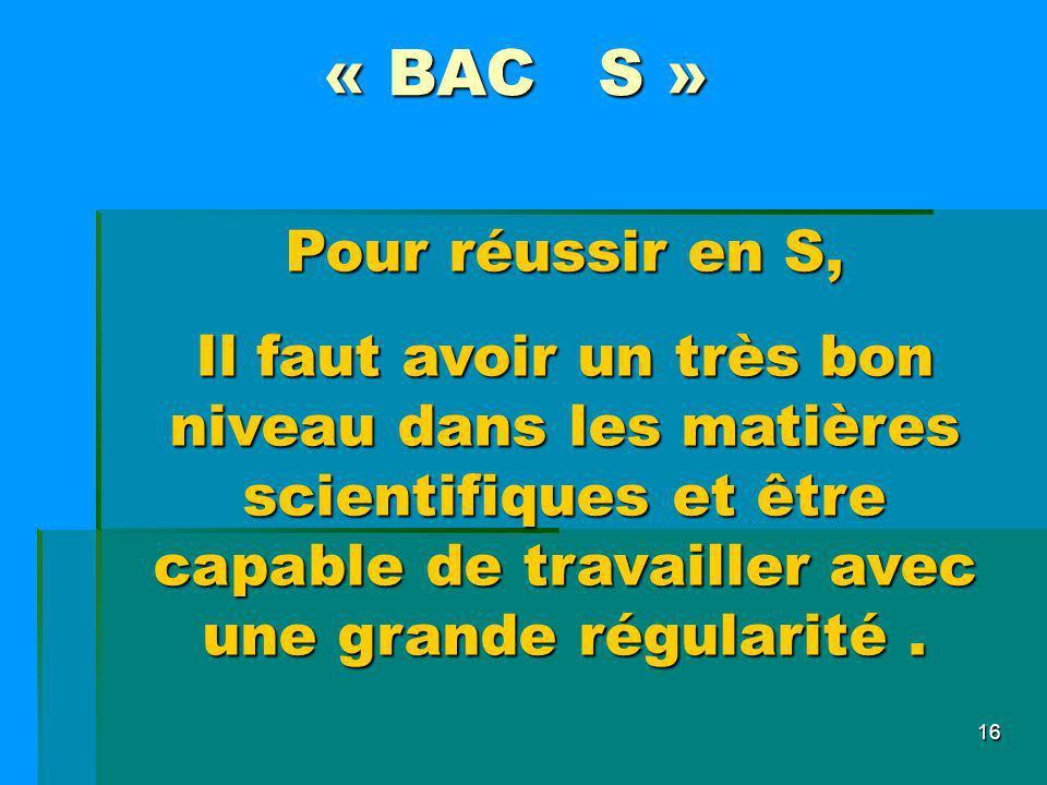 « BAC S » Pour réussir en S,