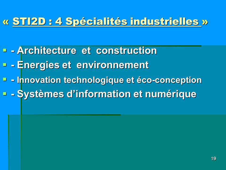 « STI2D : 4 Spécialités industrielles »