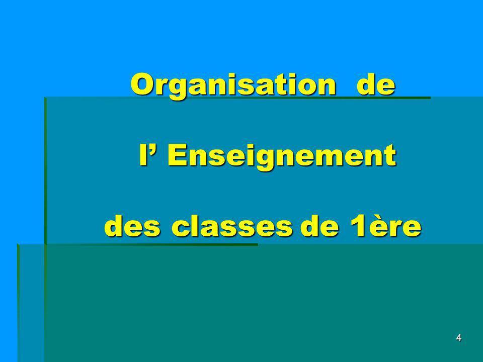 Organisation de l' Enseignement des classes de 1ère