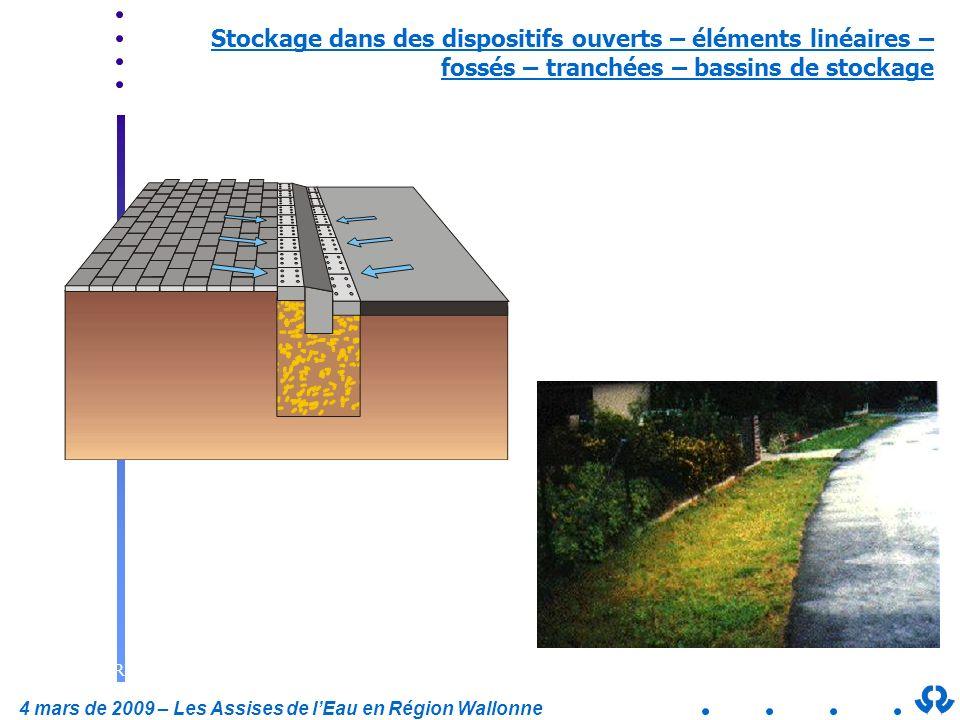 Stockage dans des dispositifs ouverts – éléments linéaires – fossés – tranchées – bassins de stockage