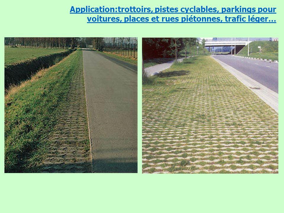 Application:trottoirs, pistes cyclables, parkings pour voitures, places et rues piétonnes, trafic léger…