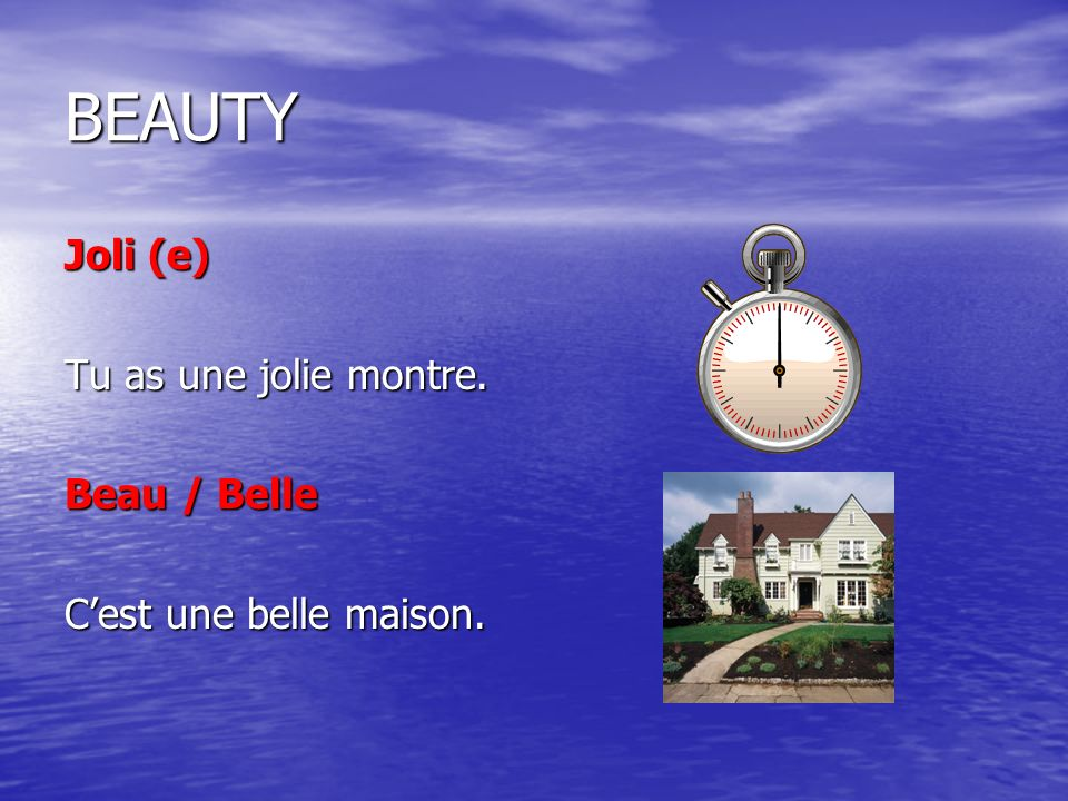 BEAUTY Joli (e) Tu as une jolie montre. Beau / Belle