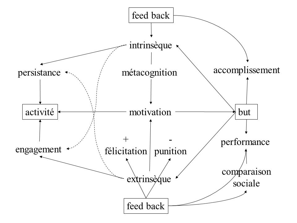 feed back intrinsèque. accomplissement. persistance. métacognition. activité. motivation. but.