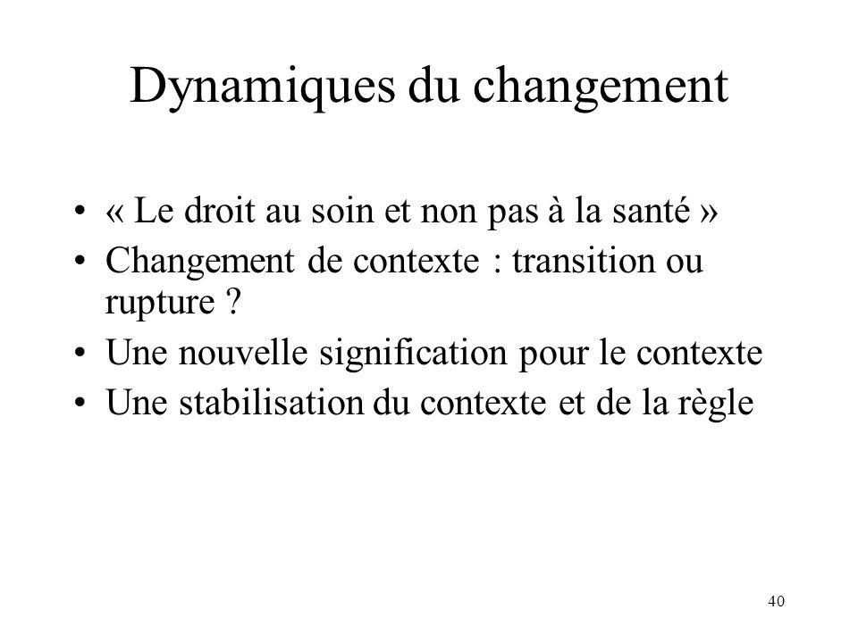 Dynamiques du changement
