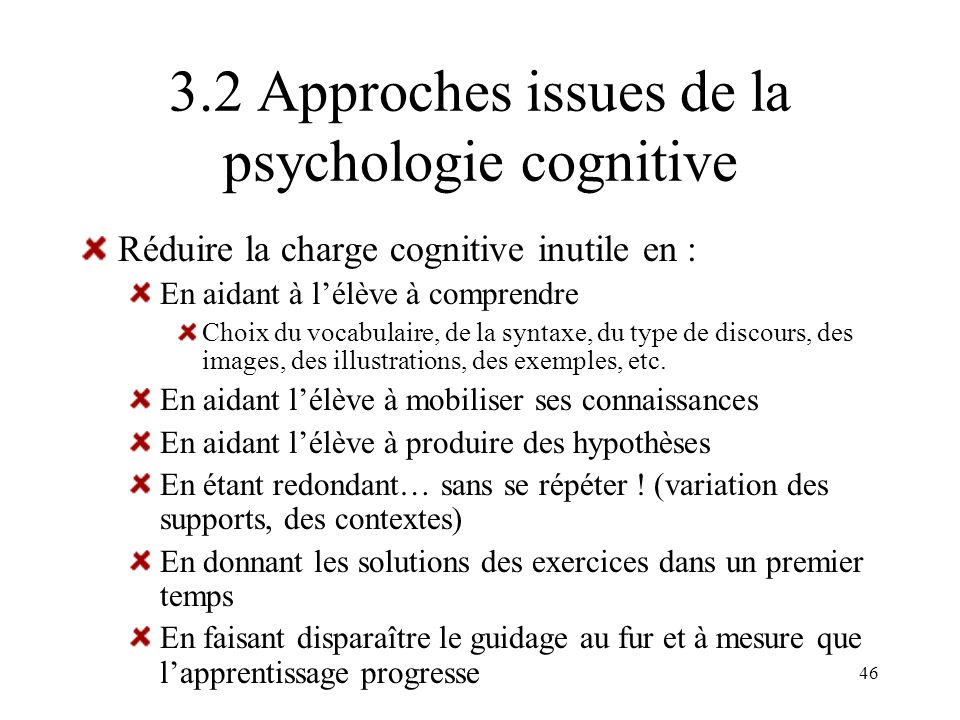 3.2 Approches issues de la psychologie cognitive