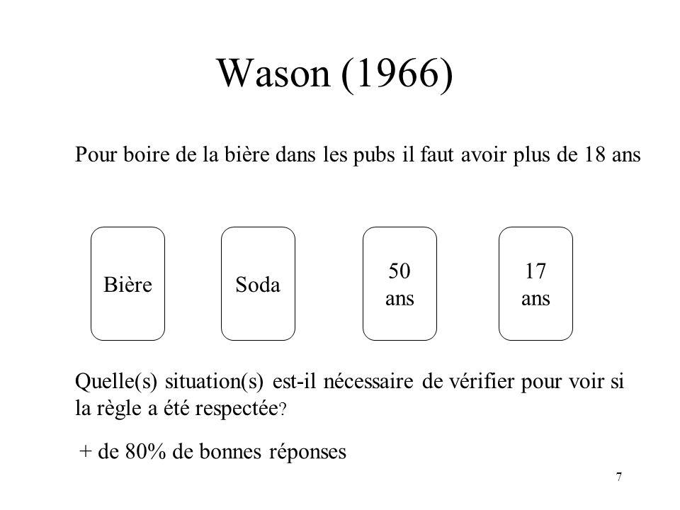 Wason (1966) Pour boire de la bière dans les pubs il faut avoir plus de 18 ans. Bière. Soda. 50.