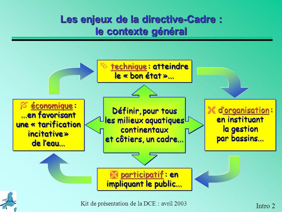 Les enjeux de la directive-Cadre : le contexte général