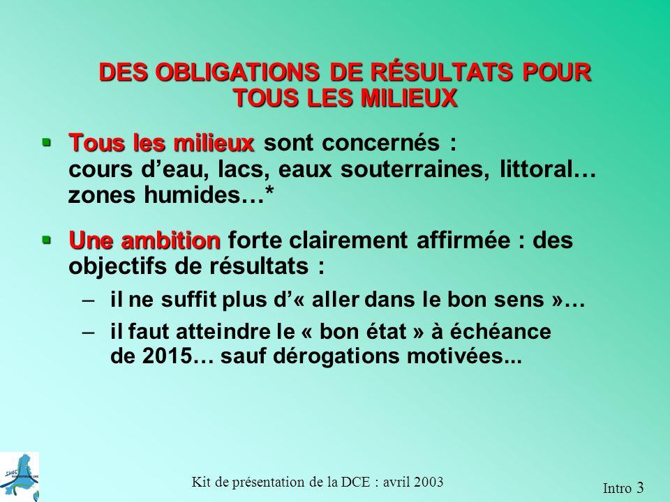 DES OBLIGATIONS DE RÉSULTATS POUR TOUS LES MILIEUX