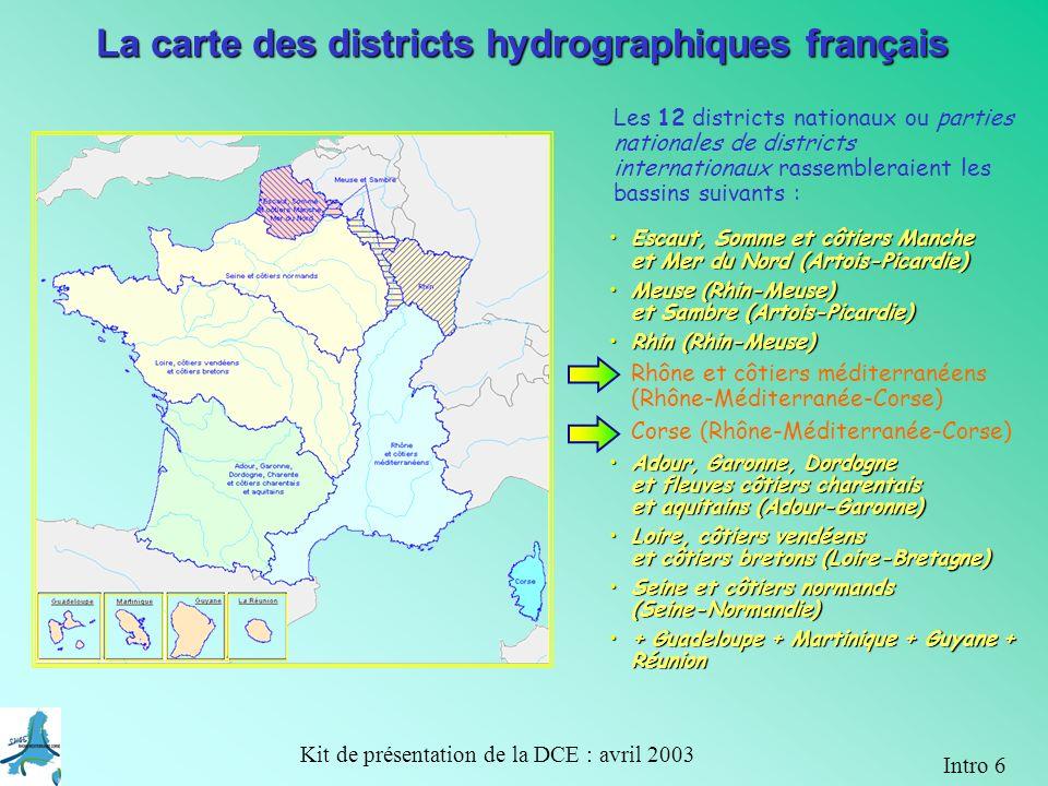 La carte des districts hydrographiques français