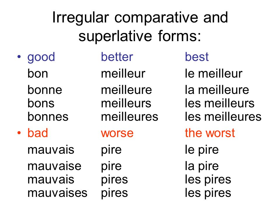 Irregular comparative and superlative forms: