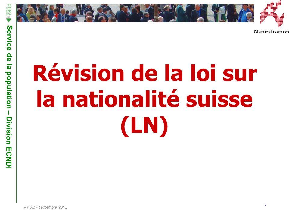 Révision de la loi sur la nationalité suisse (LN)