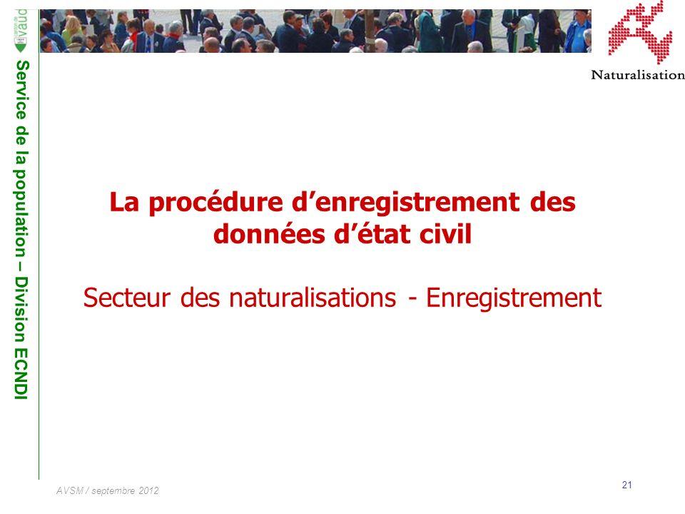 La procédure d'enregistrement des données d'état civil Secteur des naturalisations - Enregistrement