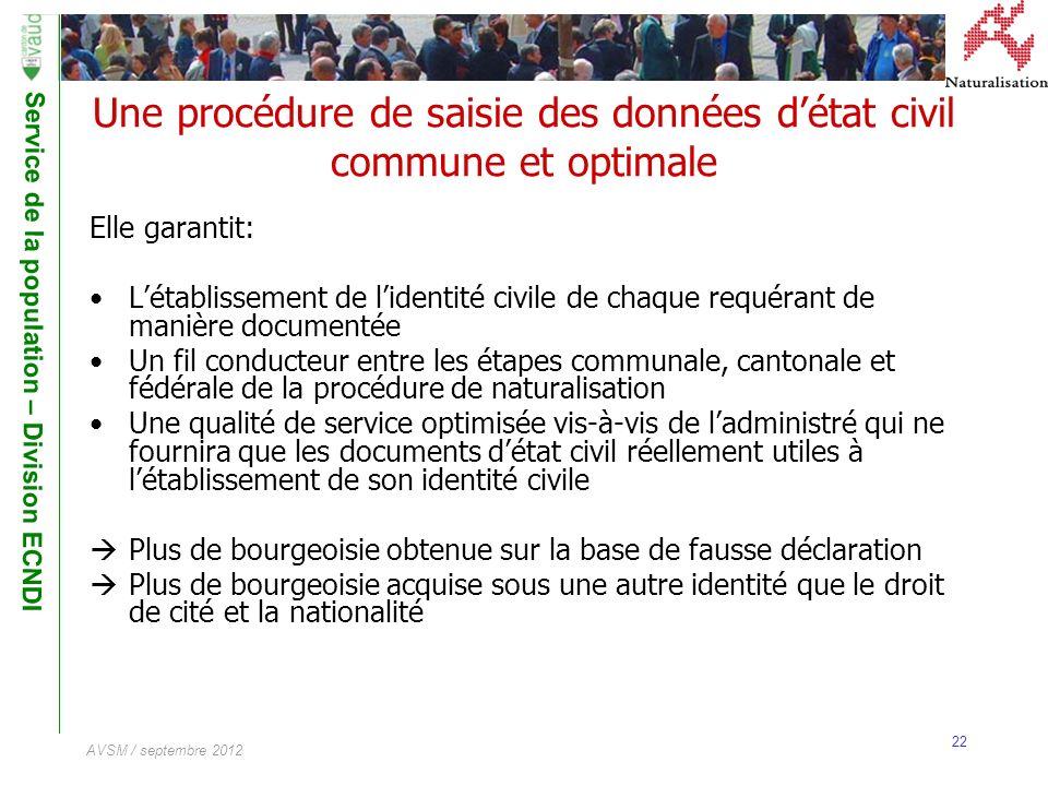 Une procédure de saisie des données d'état civil commune et optimale