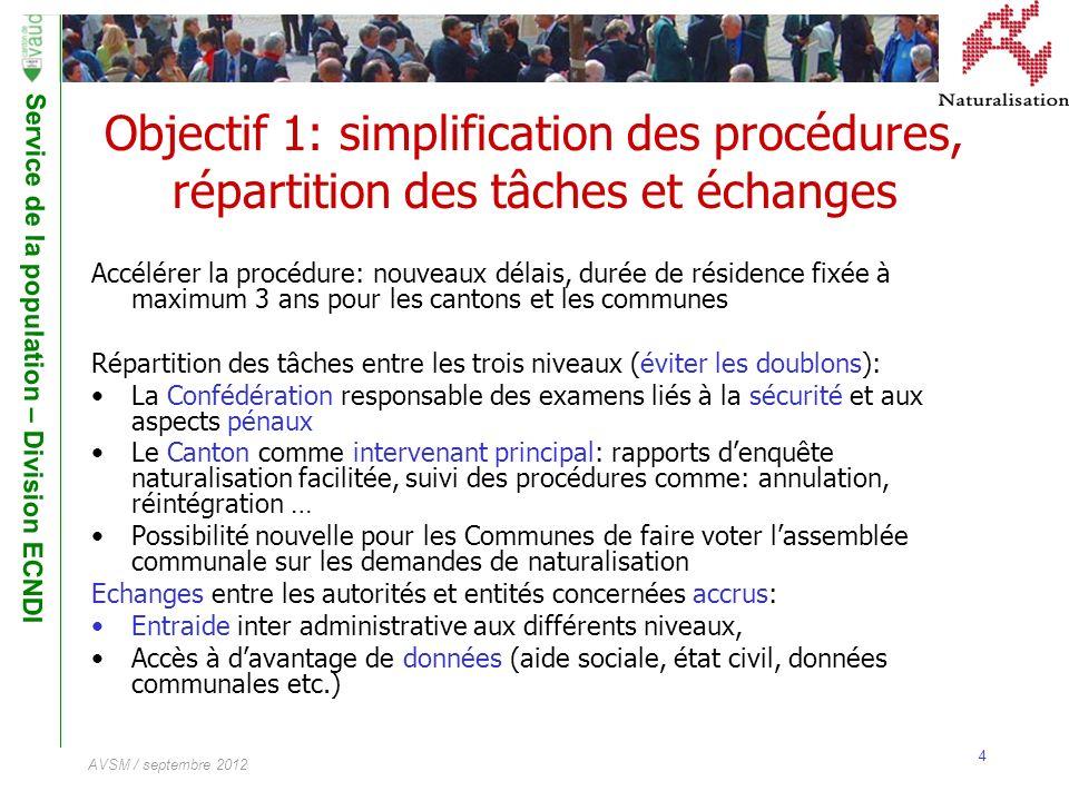 Objectif 1: simplification des procédures, répartition des tâches et échanges