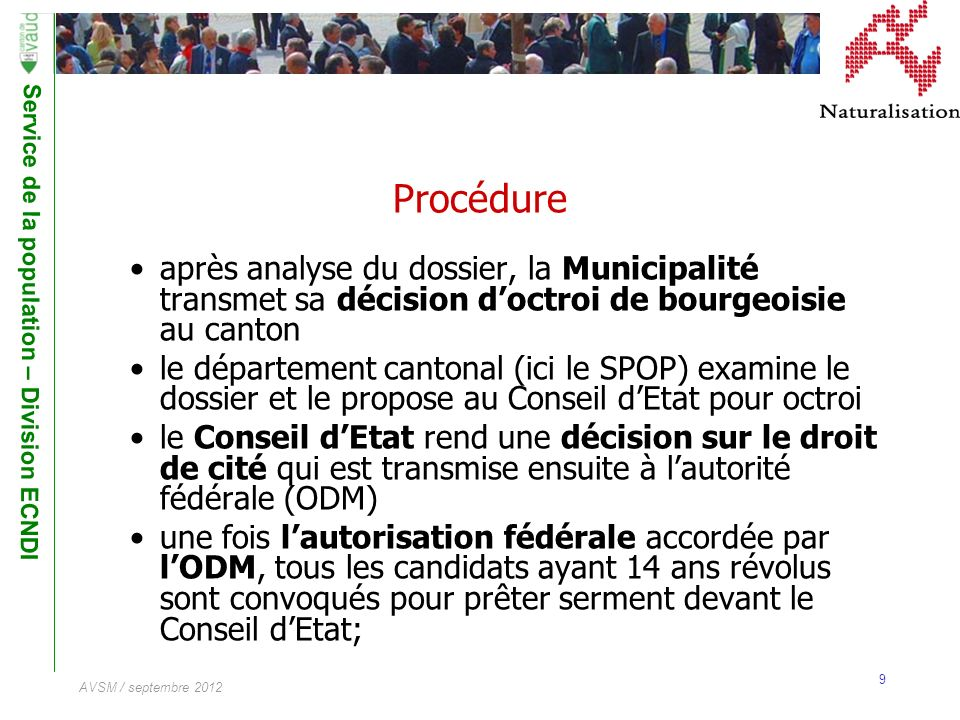 Procédure après analyse du dossier, la Municipalité transmet sa décision d'octroi de bourgeoisie au canton.