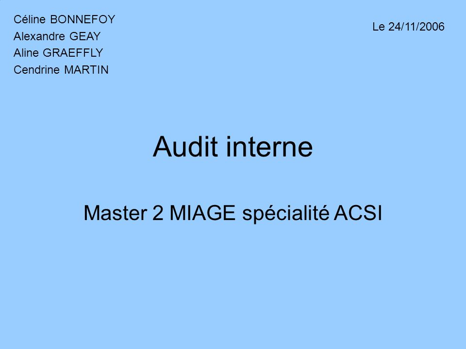 Master 2 MIAGE spécialité ACSI