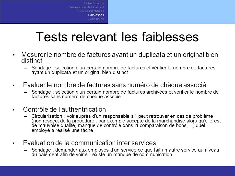 Tests relevant les faiblesses