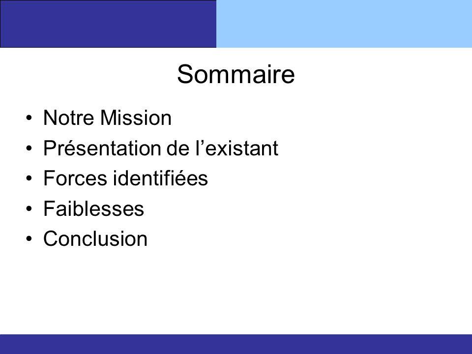 Sommaire Notre Mission Présentation de l'existant Forces identifiées