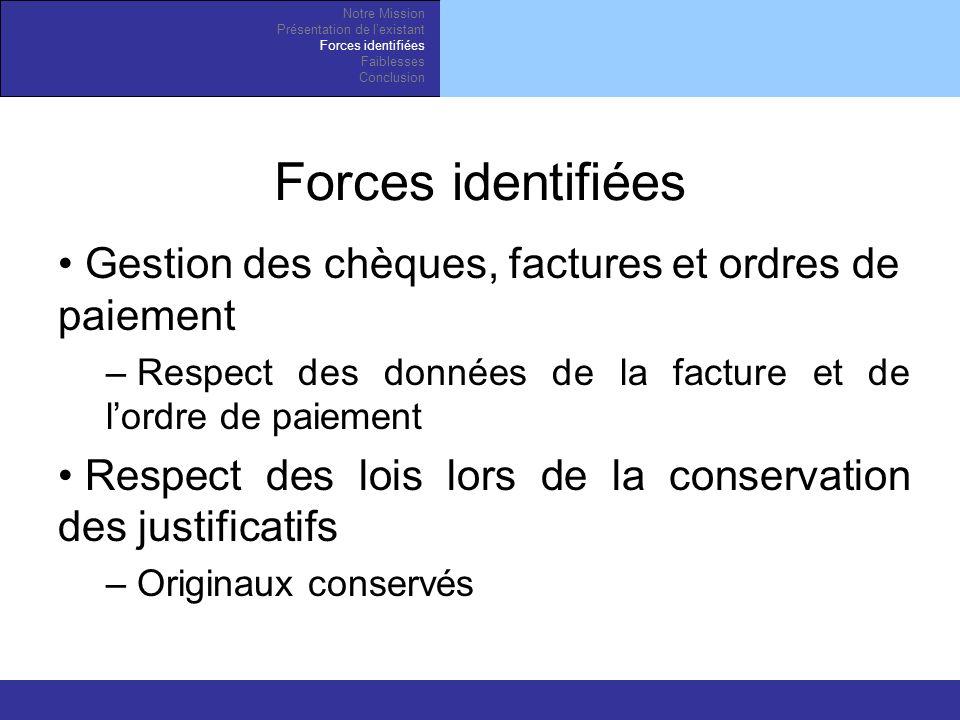 Forces identifiées Gestion des chèques, factures et ordres de paiement