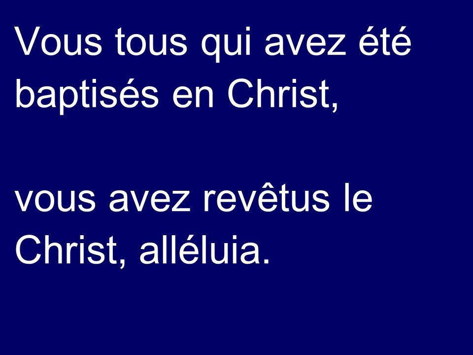 Vous tous qui avez été baptisés en Christ, vous avez revêtus le Christ, alléluia.