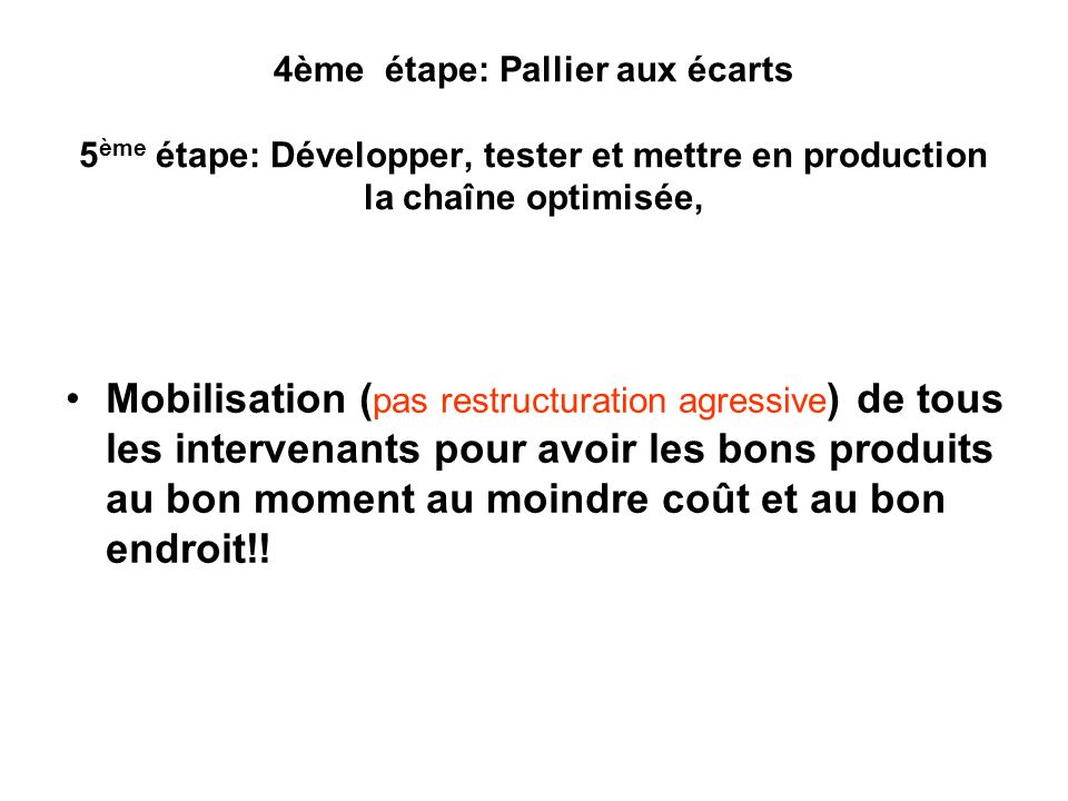 4ème étape: Pallier aux écarts 5ème étape: Développer, tester et mettre en production la chaîne optimisée,