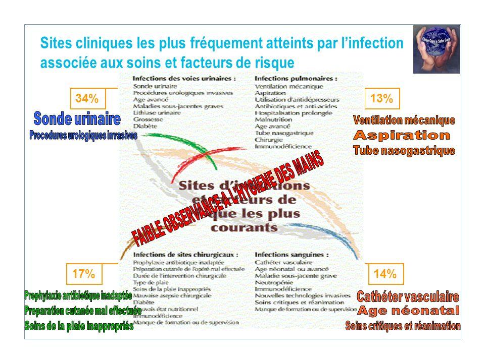 Sites cliniques les plus fréquement atteints par l'infection associée aux soins et facteurs de risque
