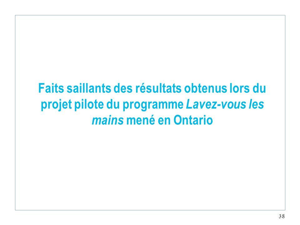 Faits saillants des résultats obtenus lors du projet pilote du programme Lavez-vous les mains mené en Ontario